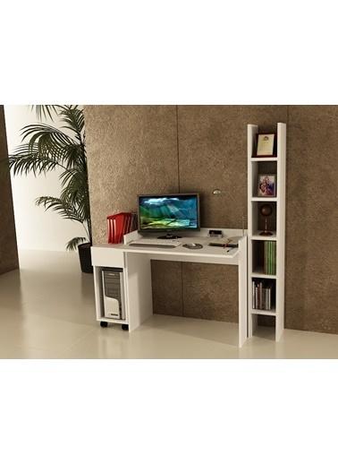 Sanal Mobilya Sirius Dolaplı Kitaplıklı Çalışma Masası 90-Dk-2A Beyaz